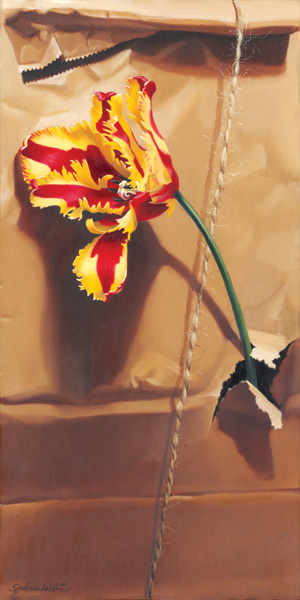 Sarah van der Helm, Tulip in Brown Paper Sack, oil, 30 x 24.