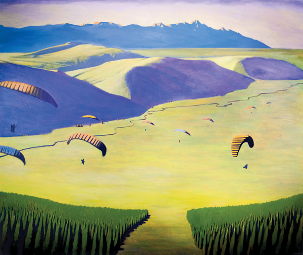 Travis Walker, Para Gliders, acrylic, 54 x 54.