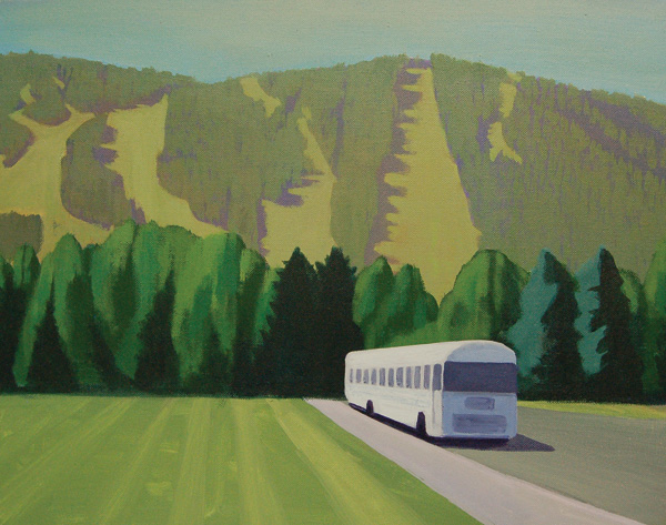 Travis Walker, Snow King and Whitewater Bus, acrylic, 16 x 20.