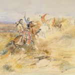 Charles M. Russell, Bringing the Stolen Herd Home, watercolor/gouache, 16 x 22. Estimate $180,000–$280,000.