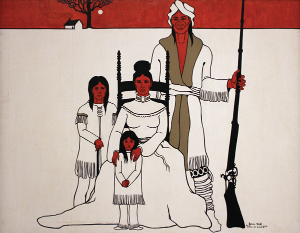 Joan Hill, The Indian Family, acrylic, 32 x 42, National Cowboy & Western Heritage Museum.