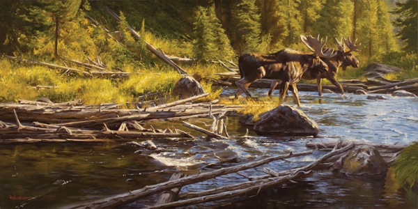 Dustin Van Wechel, Just Passing Through, oil, 24 x 48.