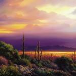 Charles Pabst, Desert Lights, oil, 30 x 60.
