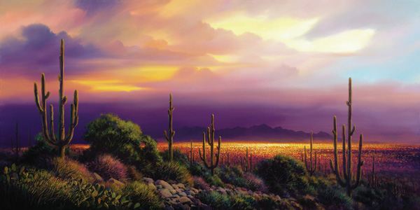 Charles Pabst, Desert Lights, oil, 30 x 60.