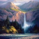 Charles Pabst, Rockies Hidden Falls, oil, 60 x 48.