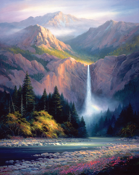 Charles Pabst, Rockies Hidden Falls, oil, 60 x 48.