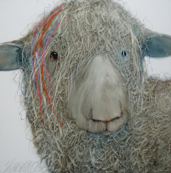 Sarah Rogers, Sheepish, watercolor, 16 x 16.