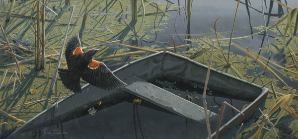 Josh Tiessen, Ponds Edge, acrylic, 14 x 30.