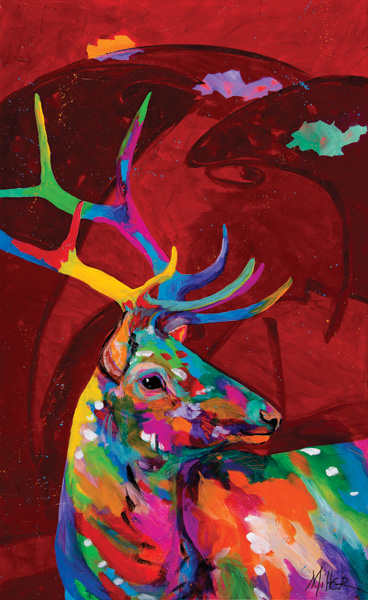 Tracy Miller, Red Elk, Acrylic on Canvas, 482 x 30 x 1.5.