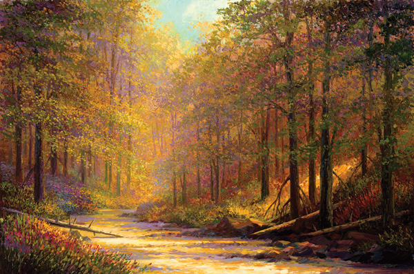 Charles Pabst, Tranquil Path, oil, 48 x 72.