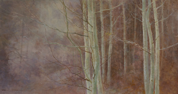 Pem Dunn, Veil of Light, oil, 21 x 40.