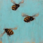 Angie Renfro, Bees 47, oil, 36 x 36.