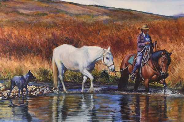 John Fawcett, Crossing Willow Creek, watercolor, 16 x 26.