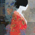 Mark English, Geisha in Red, mixed media, 46 x 30.