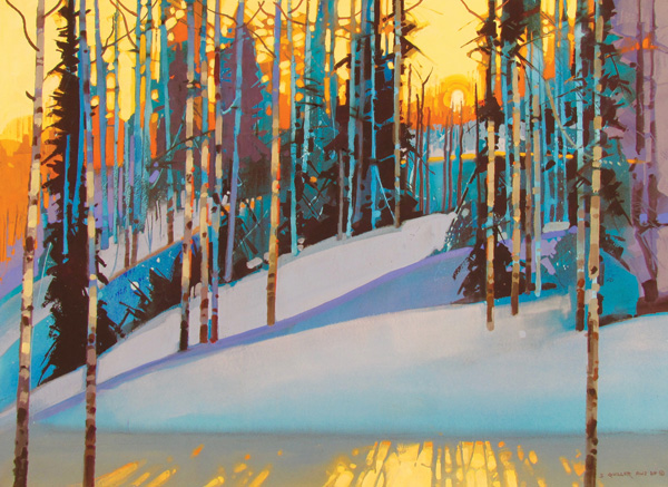 Stephen Quiller, Flickering Late Light Along the Ridge Trail, water media, 22 x 30.