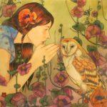 Mary Alayne Thomas, Whispers, watercolor/encaustic, 14 x 14.