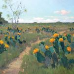 Noe Perez, Blooming Cactus, oil, 30 x 60.
