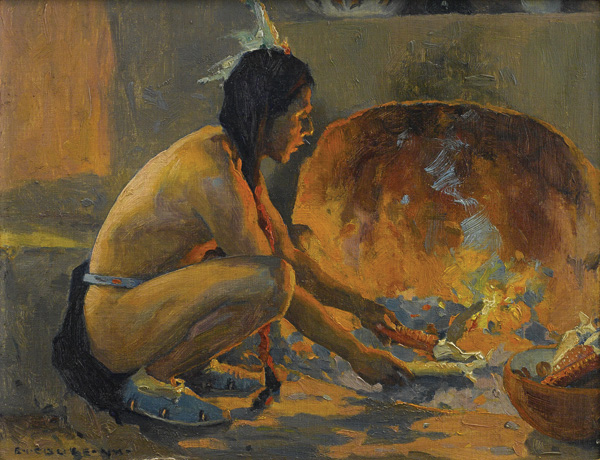 Eanger Irving Couse, The Cornhusker, oil, 8 x 10. Estimate: $25,000-35,000.