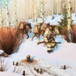 John Clymer, Beaver Sign, oil, 20 x 30. Estimate: $100,000-$150,000.