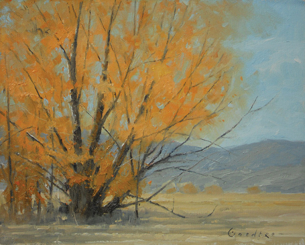 Jake Gaedtke, Fall's Last Stand, oil, 8 x 10.