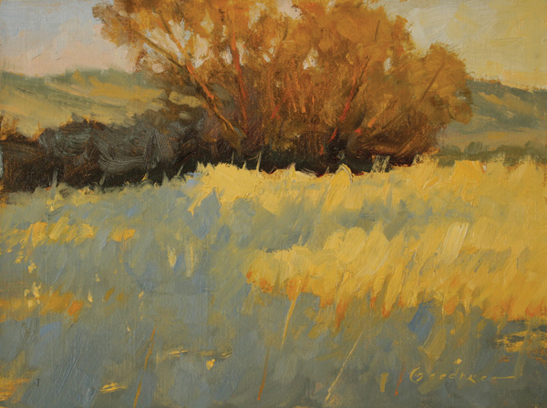 Jake Gaedtke, Fire Grass, oil, 6 x 8.