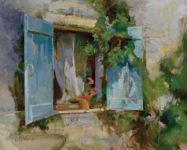 Valerie Collymore, Geranium, St. Remy de Provence, oil, 16 x 20.