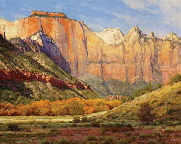 Mark Haworth, West Temple, oil, 24 x 30.
