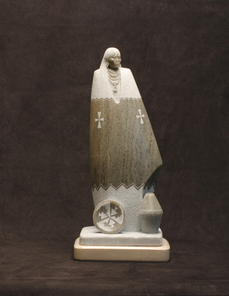 Oreland Joe, Walking in Harmony Song, Utah alabaster, 18 x 8 x 6.