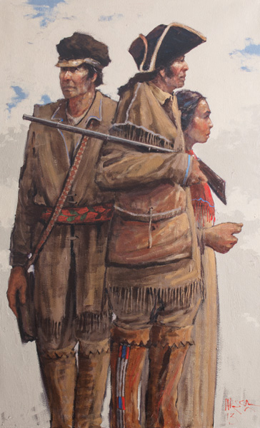 Mike Larsen, Lewis and Clark, acrylic, 48 x 30.