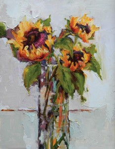 Terrie Lombardi, Leggy Sunflowers, oil, 14 x 11.