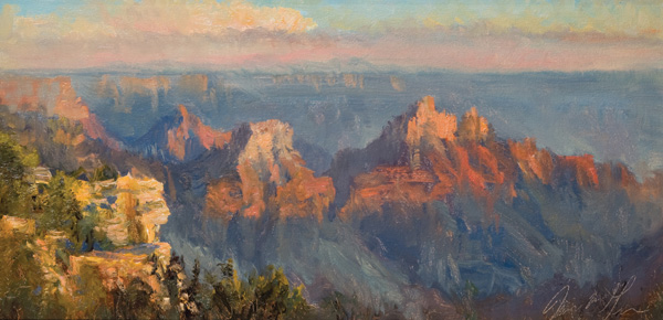James McGrew, North Rim Sunset, oil, 8 x 16.