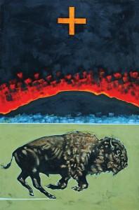 Nocona Burgess, Numu Kuhtsu, acrylic, 48 x 30.