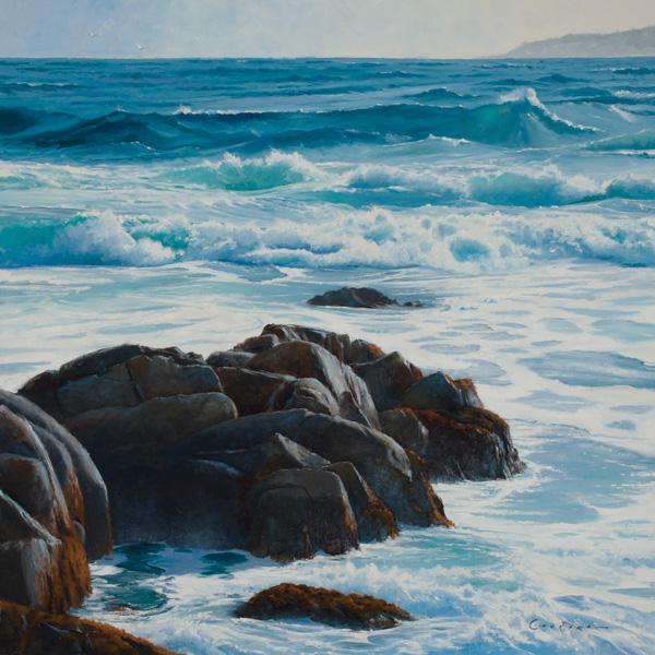 Jake Gaedtke, On the Rocks, oil, 24 x 24.