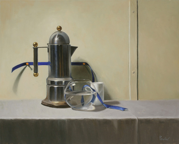 Sandra Power, Ribbon with Coffee Pot, oil, 16 x 20.