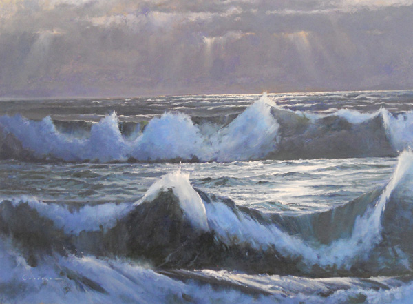 Jake Gaedtke, Shining Sea, oil, 22 x 27.
