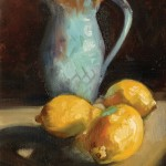 Mimi DeOlloqui, The Blue Pitcher, oil, 6 x 8.