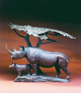 Kent Ullberg, Two Against the World, bronze, 22 x 21 x 12.