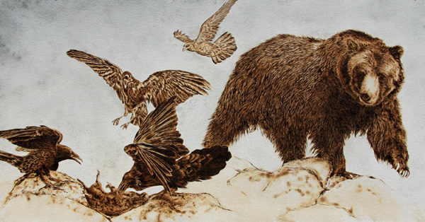 Julie Bender, To the Victor Belong the Spoils, pyrography/acrylic on paper, 15 x 28.