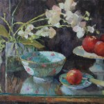 Hope B. Reis, Orchids & Nectarines, oil, 12 x 16.