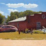 Michael Baum, Summer at the Garage, oil, 20 x 48.