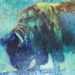 V... Vaughan, Blue Bison, oil, 36 x 36.