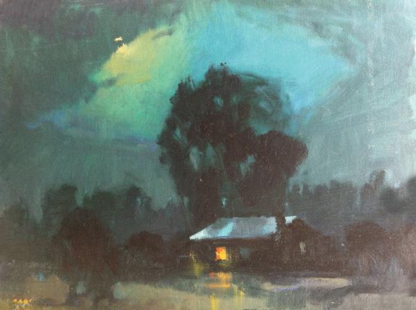 V... Vaughan, Cabin Moon, oil, 12 x 16.