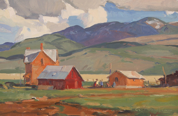 G. Russell Case, Farm Buildings, oil, 10 x 18.