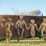 Glenna Goodacre, Puddle Jumpers, bronze, 6 x 13 feet, Estimate: $300,000-$500,000.