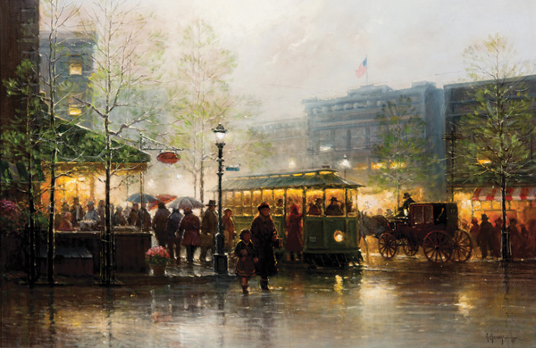G. Harvey, Trolley Café, oil, 24 x 36. Estimate: $80,000-$120,000.