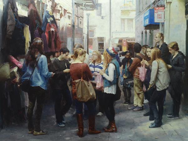 Huihan Liu, Shopping Day in Chinatown, San Francisco, oil, 30 x 40.