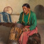 Joseph Sharp, Taos Ceremonial Drummer, oil, 20 x 16. Estimate: $75,000-$100,000.
