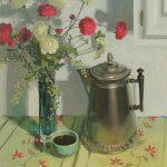Jennifer Diehl, The First Cup, oil, 24 x 20.
