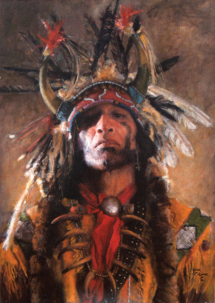 John Coleman, Holy Man at the Buffalo Nation, oil, 23 x 17.