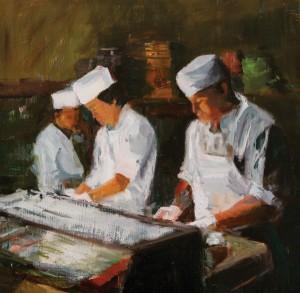 Marin Dobson, Nobu Chefs, oil, 12 x 12.